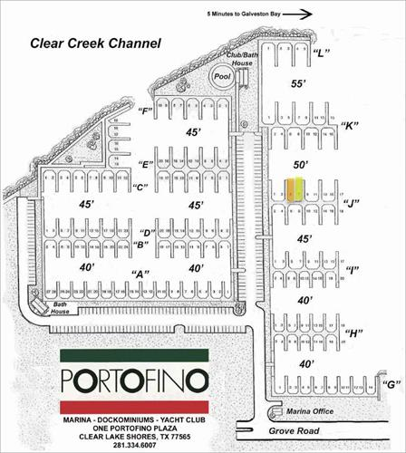 Two 50' boat slips for rent - Portofino Harbor Marina - Clear Lake Shores, TX